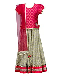 Peaches Girls' Lehenga Choli (L-OKPL_Off White_6-7 Years)