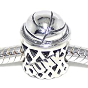 Pro Jewelry .925 Sterling Silver Basketball & Net Dunk Charm for Snake Chain Charm Bracelets 3994