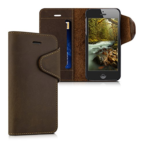 kalibri-Echtleder-Wallet-Hlle-fr-Apple-iPhone-SE-5-5S-Case-mit-Fach-und-Stnder-in-Braun