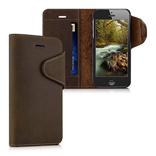 kalibri-Echtleder-Wallet-Hlle-fr-Apple-iPhone-SE-5-5S-Case-mit-Fach-und-Stnder-in-Braun