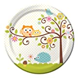 Creative Converting Happi Tree Sweet Baby Round Dinner Plates,8 Count