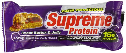 Supreme Protein 50 g Peanut Butter and Jelly Whey Protein Snack Bars - Box of 9