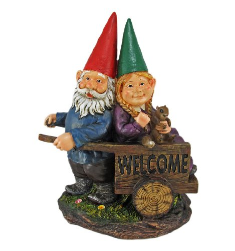 WELCOME FRIENDS Gnome Couple Garden Statue