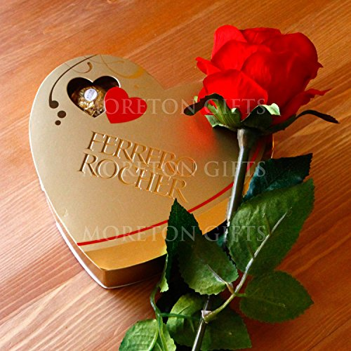 Moreton Gifts Red Rose With A Ferrero Rocher Heart Love Gift - By - Valentine's Day Romantic Love Gift (Chocolate Valentine Day compare prices)