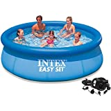 "Intex 10' x 30"" Easy Set Above Ground Swimming Pool with Quick-Fill AC Air Pump"