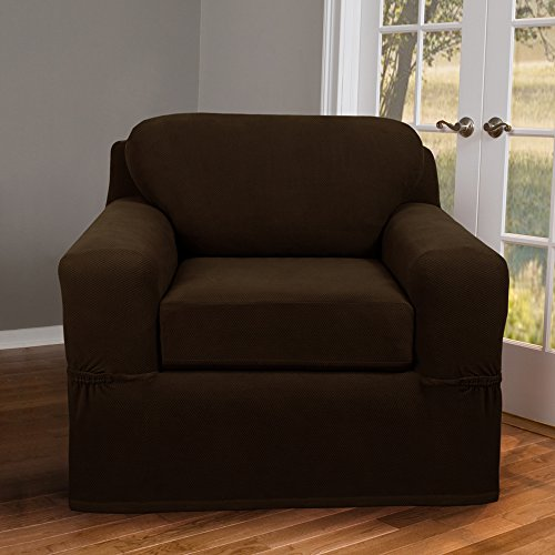 Maytex Pixel Stretch 2-Piece Slipcover Chair, Chocolate (Chocolate Brown Chair compare prices)