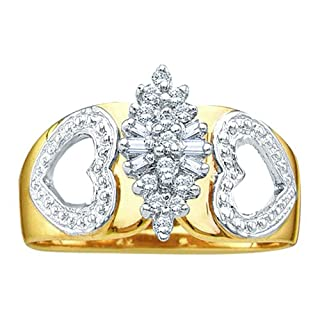 10K Yellow Gold 0.15 ct. Round and Baguette Cut Diamond Cluster Ring