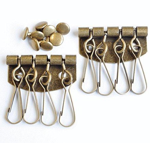 キーホルダー金具 4連 アンティークゴールド カシメ付き シンプルタイプ