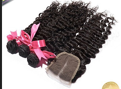 DaJun hair Middle Part 1Pc 4x4 lace closure with Virgin Indian Remy Human Hair 3 Bundles Weaves Mixed Length 4Pcs Lot Deep Wave Natural Color Can be Dyed by DaJun