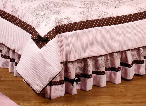 Pink And Brown French Toile And Polka Dot Queen Bed Skirt By Sweet Jojo Designs front-27988