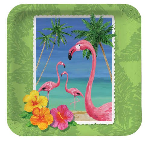 Creative Converting 412447 Tropical Vacation Luncheon Plate, Sq (12pks Case)