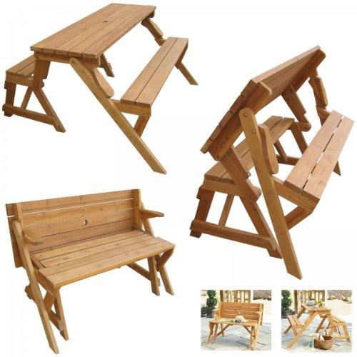 Mesa de picnic que se convierte en banco al plegarla for Mesa de picnic madera