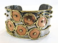 Anju - Mixed Metal Copper Circles Cuff - Bracelet by Anju