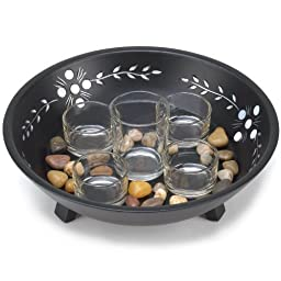 Candle Display Set with Pebbles in Decorative Bowl by AEW