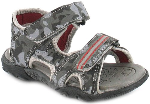Boys/Childrens Grey Twin Velcro Strap Camoflage Print Sandal Shoes. - Grey/Red - UK 4-12