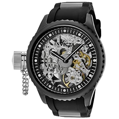 Invicta Men's 1848 Russian Diver Left Handed Mechanical Skeleton Dial Black Polyurethane Watch