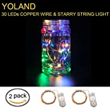Yoland Indoor and Outdoor 30LED 10Ft Fairy Starry String Lights Button Battery-Operated on Long Line Copper Wire - Multi-colored - 2 Pcs