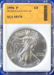1996 American Silver Eagle SGS Graded MS70
