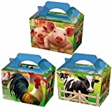 6 Farm Animals Kid Childrens Plain Activity Food Box Loot Meal Lunch Favour Party Bag Themed Easter