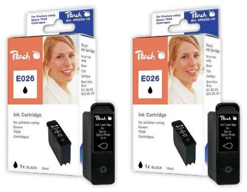 Peach E026 bk Doppelpack Tintenpatronen kompatibel zu Epson T026, schwarz