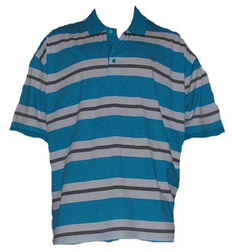 Mens Turquoise, White & Grey Stripe Polo Shirt. Size XXXX-Large 58