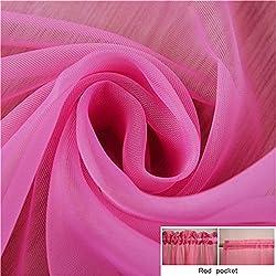 New Fashion Terylene Tulle Window Screening Blinds Sheer Voile Gauze Curtain for Cafe Kitchen Living Room Balcony Translucidus Decor Deep pink W200cm x H270cm Rod pocket