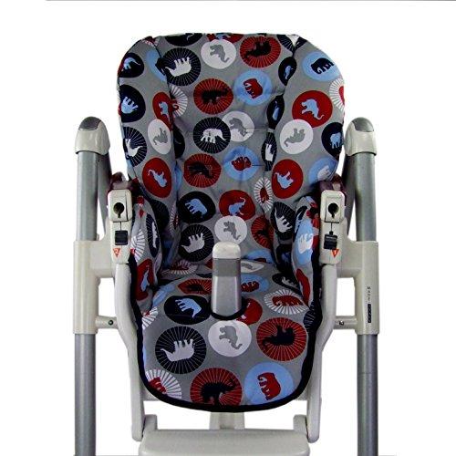 Babys-Dreams-Sitzkissen-Bezug-Ersatzbezug-fr-Peg-Perego-Prima-Pappa-Diner-MARINE-ELEFANTEN-NEU