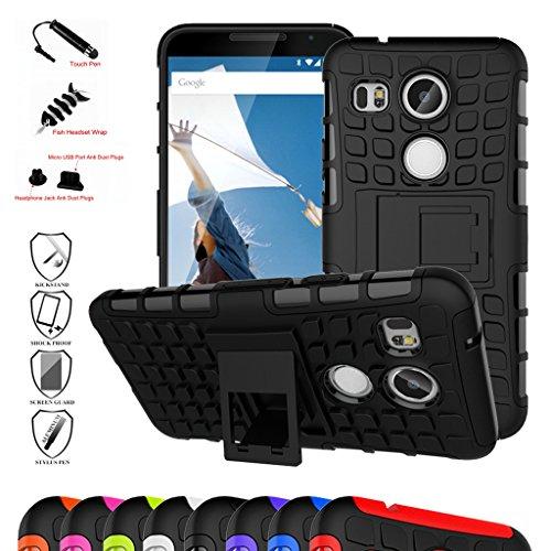 Nexus 5X 2nd Gen Custodia, Mama Mouth Duro Shock Proof copertura Rugged Heavy Duty Antiurto in Piedi Custodia caso Case per LG Nexus 5X 2nd Generation 2015,Nero