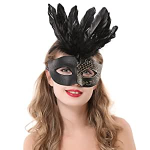 Cosplay Dress Halloween Black Feather Crown Masquerade Mask Half Face Mask