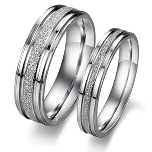 Geminis Fashion Jewelry Silver Frosted Surface Central and Grooves Stainless Steel Promise Couple Ring----Lady's Ring;Size 9