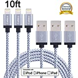 Cablex 3Pack 10FT Extra Long Nylon Braided 8pin Lightning to USB Charging Cable Sync and Charging Cord with Aluminum Heads for iPhone 6/6s/6 plus/6s plus, 5c/5s/5/SE, iPad Air/Mini, iPod Nano/Touch