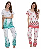 Miavii Women's Printed Cotton Night Suit -Combo of 2