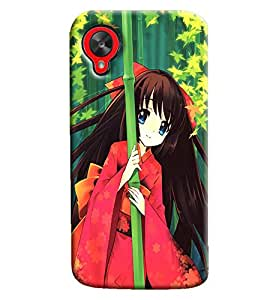 Blue Throat Cartoon Girl With Tree Hard Plastic Printed Back Cover/Case For LG Google Nexus 5