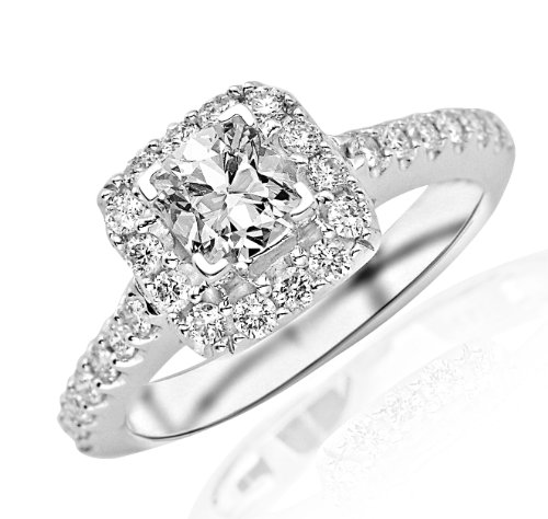 1.26 Carat Square Halo Diamond Engagement Ring (I Color, Vs2 Clarity)
