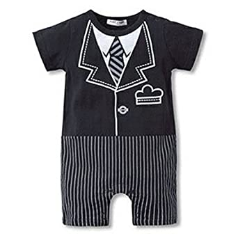Newborn Baby Boy Romper Rompers Tuxedo All-in-one Suit Bowtie Bodysuit Short Sleeve