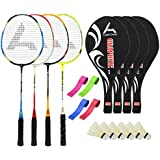 Guru GraphiteBR04 Series-COMBO-1 Badminton Racquets Set Pack Of Four With Four Cover Six Shuttlecock & Four Hand...
