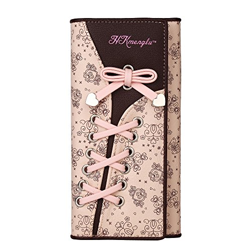 GDTK Women's Long Leather Purse Multi-card Position With Bandage Clutch Wallet Card Holder (Pink)