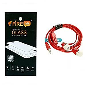 ONE PLUS 3 WITH FT-100 RETRO DESIGN HANDSFREE(RED) 0.3MM CURVED TEMPERED BY FIRETALK