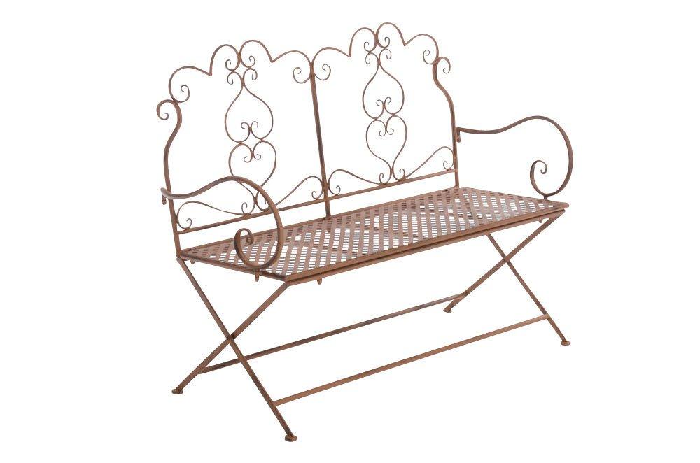 CLP Gartenbank OLIVIA in nostalgischem Design, aus lackiertem Eisen, 116 x 49,5 x 93 cm (BxTxH), FARBWAHL antik-braun