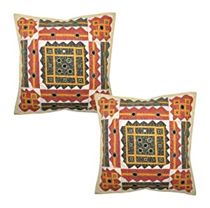 2 Pcs Indian Traditional Home Décor Cotton Cushion Cover with Cut ...