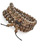 FIBO STEEL 8mm Wood Beaded Bracelet for Mens Womens Necklace Buddhist Beads Elastic