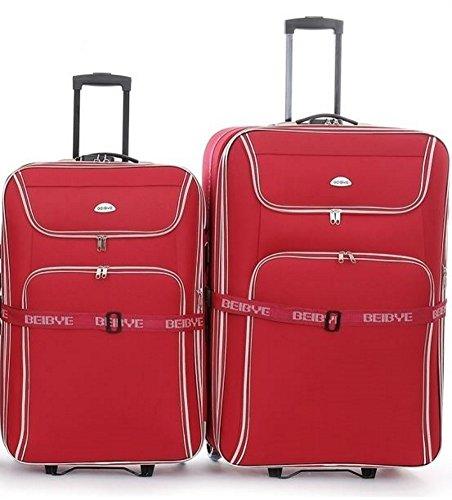 Trolley-valigetta-set - XXL-capacità - 2 carrelli: 86 + 76 cm, estendibile - rosso