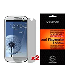 Samsung Galaxy S3/III i9300 Bessi Masstige (Anti-Fingerprint & Anti-Glare) Screen Protectors Hybrid Protection - [Sprint At&t T-Mobile Verizon US Cellular Unlocked 3G] Cover Film [2 Pack]