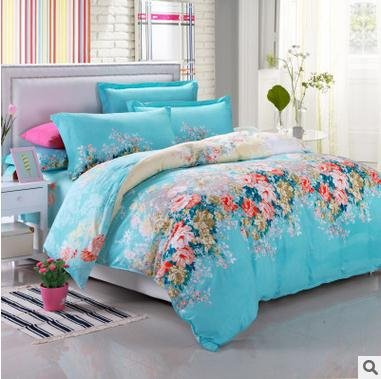 100% Cotton 3-Piece Blue Flowers Printed Duvet Covers Sets for Girls (1 Duvet Cover+1 Bed Sheet + 2 Pillowcases) Full 0