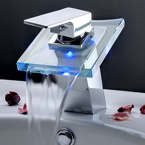 Ouku Deck Mount Modern Single Handle Widespread Waterfall Bathroom Vessel Sin