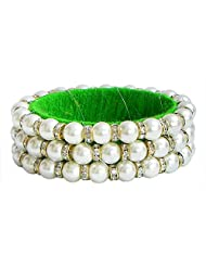 DollsofIndia White Stone Studded And Faux Pearl Bead Bracelet With Green Cloth Lining - Beads And Stone - White... - B00R3R73BC
