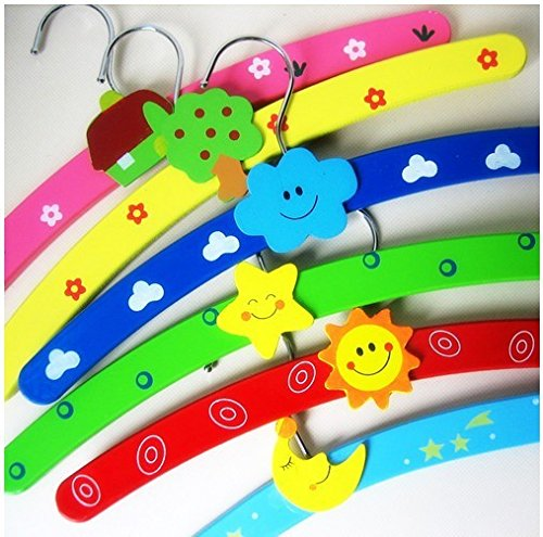 Set of 5 Cute Cartoon Baby Kids Wooden Clothes Hanger - Kids Closet Wardrobe Accessories