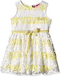 Barbie Girls' Dress (DRAFA161211005_Sunshine Yellow and Off-White_4/5)