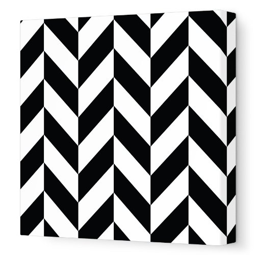 "Avalisa Stretched Canvas Nursery Wall Art, Pattern 220, Black, 18"" x 18"""