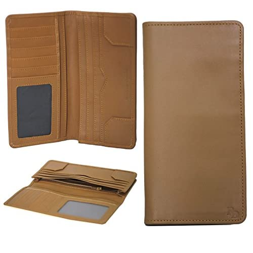 RD Genuine Leather Wallet Travel Long Purse Receipts Papers Credit Card Holder 78 (Tan Brown)